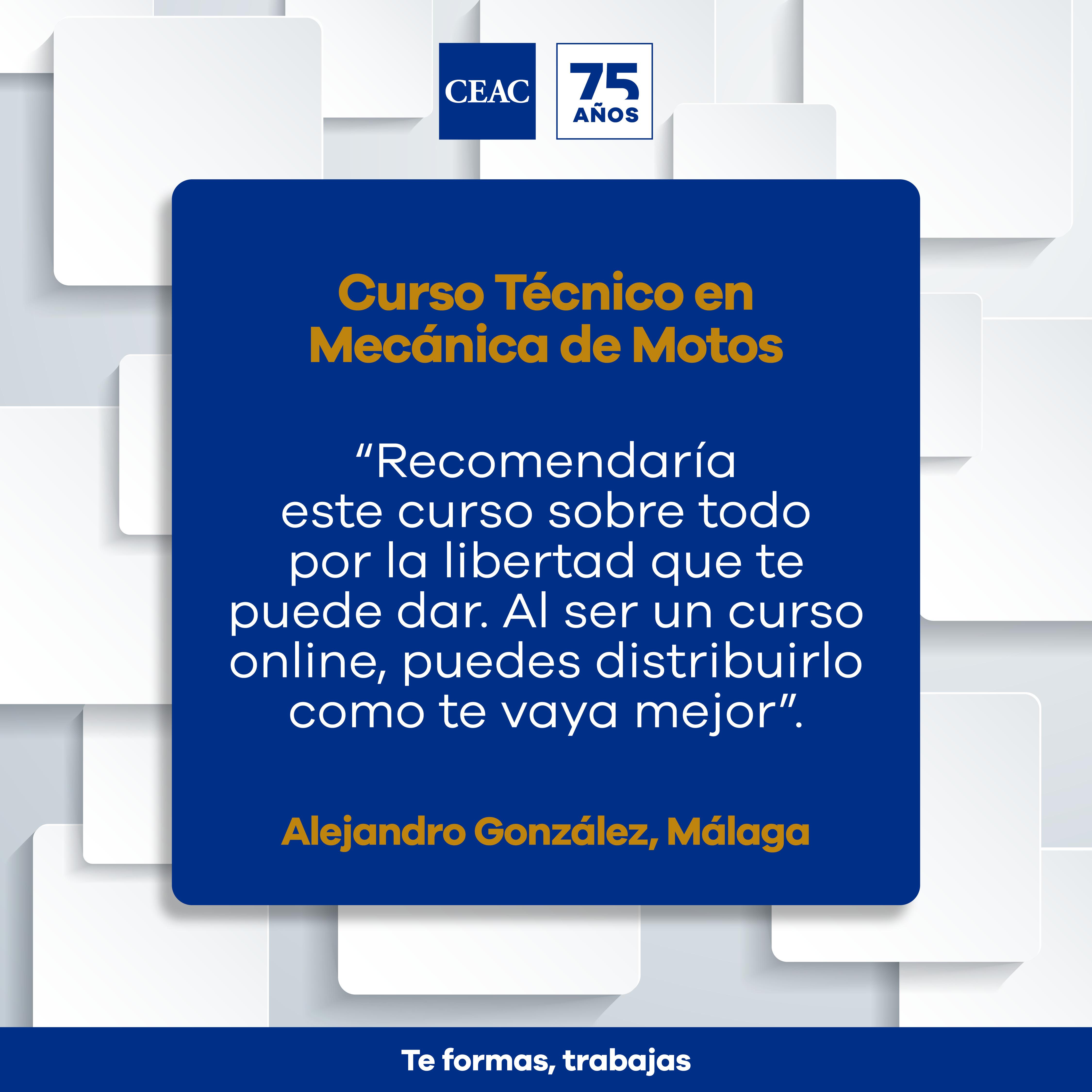 Opinión de Alejandro sobre el Curso Técnico en Mecánica de Motos