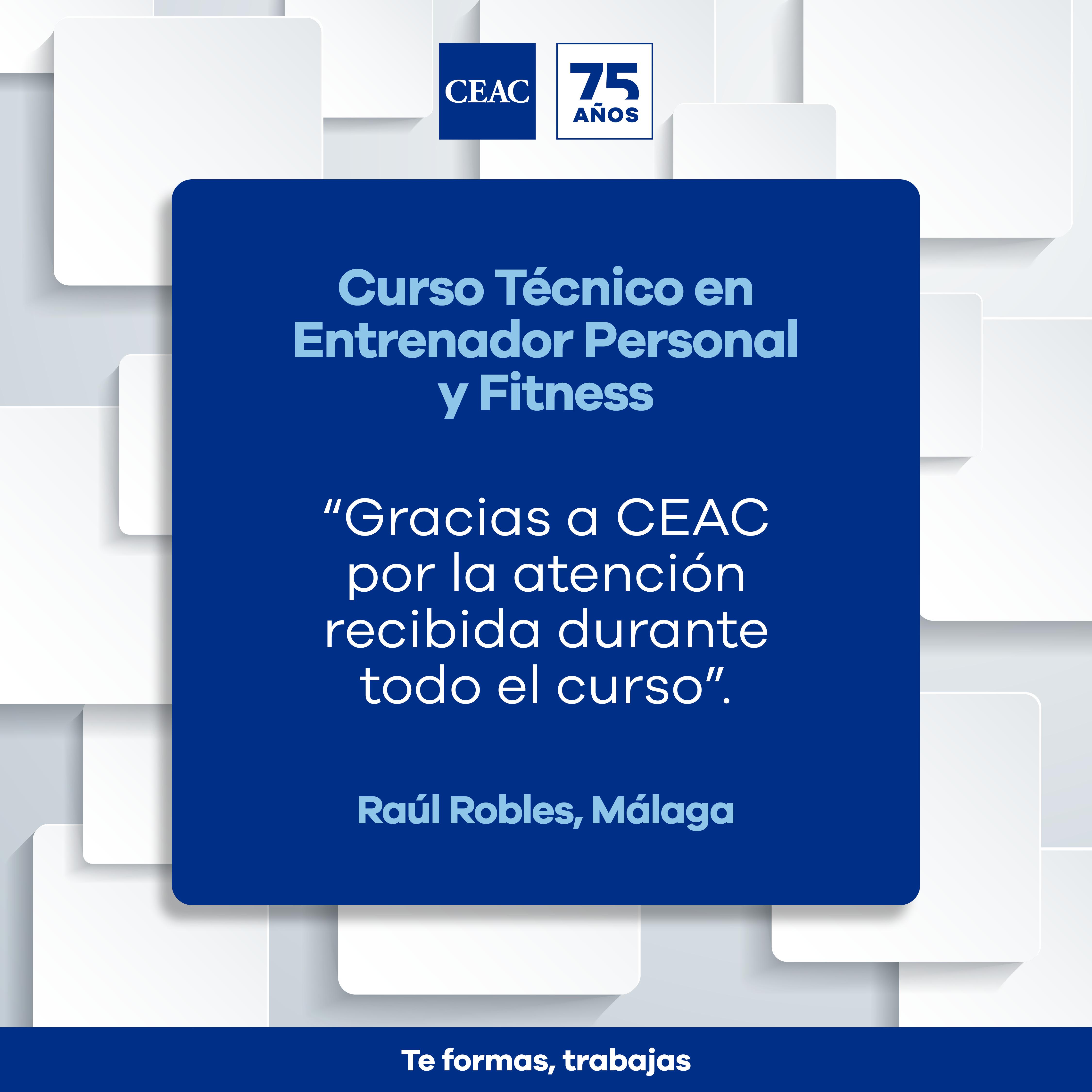 Opinión de Raúl sobre el Curso Técnico En Entrenador Personal y Fitness